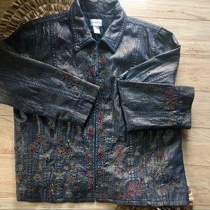 Chico's Embellished Denim Jacket Size 3(XL-16)